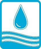 symbol with water drop and wave