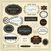 Collection of retro calligraphic labels best, original and genui