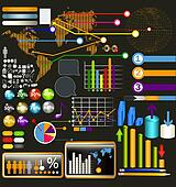 Collection of web and infographic elements, diagrams, symbols an