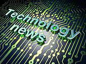 News concept: Technology News on circuit board background