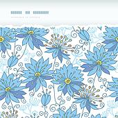 Heavenly flowers horizontal torn seamless pattern background