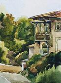 Old house in Yalta watercolor