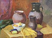 Still life with clay pottery and vegetables gouache painting