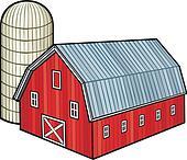 red barn and silo (barn and granary