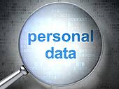 Information concept: Personal Data with optical glass
