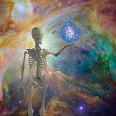 Skeleton holds floating eye in deep space