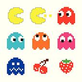 Pacman and ghosts 80s computer icon