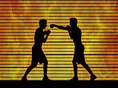 two man boxing on a fire background