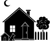 House and tree, silhouette