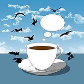 coffee break next to the sea