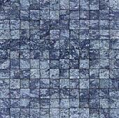 mosaic tile speckled blue wall floor