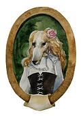 geyhound dog portret watercolor royal dog seria