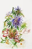 three lilac asters in a glass on tablecloth with flower ornament pencil drawing