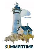 watercolor Summer lighthouse