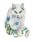white watercolor spring cat concept