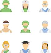 Medical employee icon set