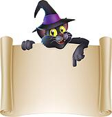 Halloween cat scroll sign