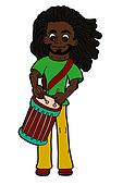 Cartoon rastaman playing drums