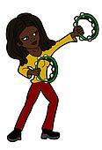 Rasta woman playing the tambourine