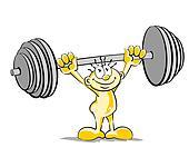 Little man lifting weights