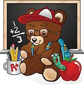 School Student Teddy Bear Cartoon