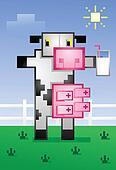 Pixelated Cow Drinking Milk Cartoon