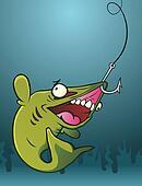 Fish on a Hook Cartoon Character