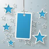 Blue Price Sticker With Stars PiAd