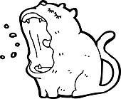 yawning cartoon cat