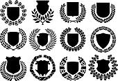 medieval shields and laurel wreath