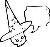cartoon skull in wizard hat