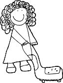 child's drawing of a woman cleaning