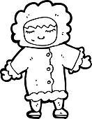cartoon man in winter fur coat
