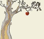 Original sin. Tree with apple.