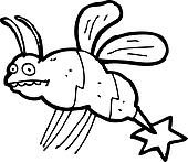 cartoon stinging wasp