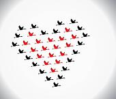 Blank and red Swans flying or Geese flying or Crane Flying in the shape of heart against a white gradient sky background