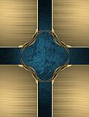 Golden texture with a cross blue and gold trim