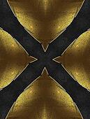Black background in the form of a cross with yellow edged with gold trim