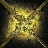 Gold background in the form of a cross with yellow edged with gold trim
