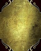 Grunge gold background with red corners with gold trim