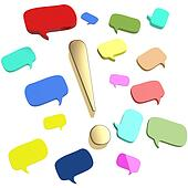 Colorful speech bubbles and dialog balloons with large golden exclamation mark