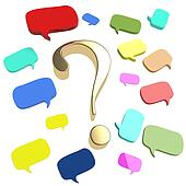 Colorful speech bubbles and dialog balloons with a large gold question mark