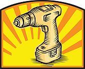 Cordless Drill Power Tool Woodcut Retro