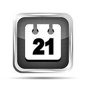 metallic date icon on a white background