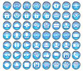 set of blue web, multimedia and business icons on a white background