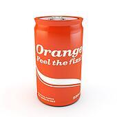 single can of fizzy soda orange with original design