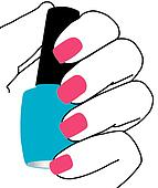 Nails with a nail polish in hand