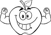 Outlined Apple With Muscle Arms