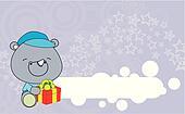 rhino baby cartoon gift box wallpa