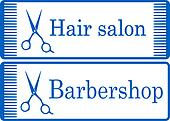 blue barbershop signboard